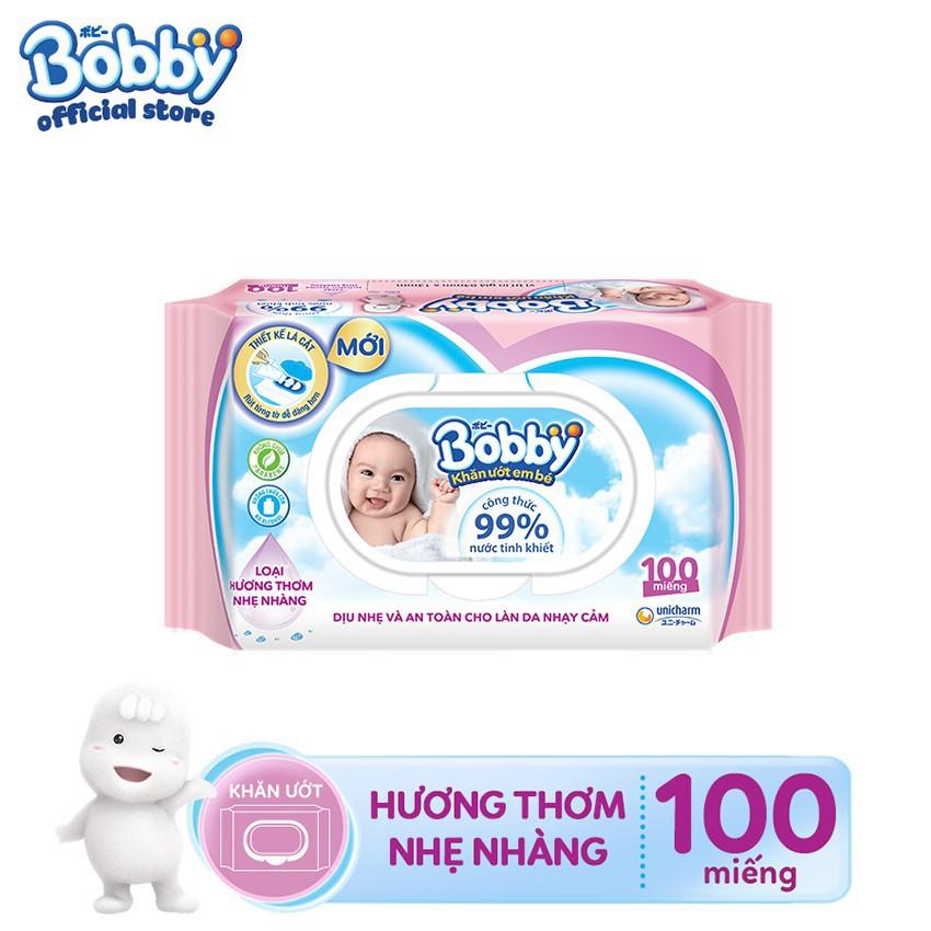 Hình ảnh [HCM] Khăn ướt Bobby Care hương thơm nhẹ nhàng 100 miếng (Hồng)-0