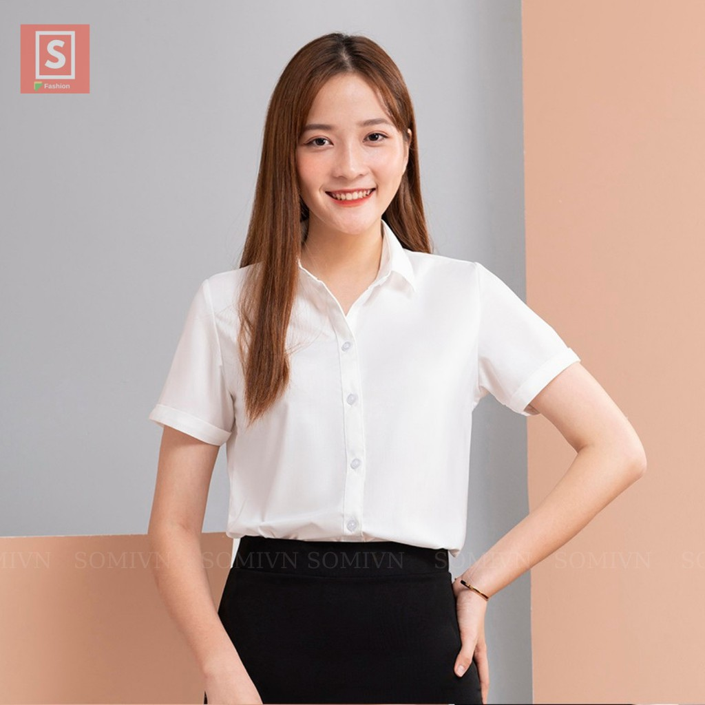 Sơmi cộc tay công sở áo nữ đẹp màu trắng, xanh nhạt, hồng nhạt, đen đồng phục đi làm, đi học áo kiểu xinh - NUNGAN
