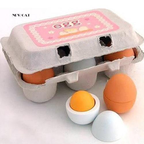 ღNK_6Pcs/Lot Preschool Educational Pretend Cooking Play Odorless Wooden Egg Toys Set