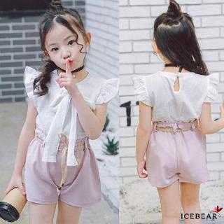 ✸ღ✸Lovely Toddler Kids Baby Girls Outfit Clothes Chiffon T-shirt Top+Pants Shorts 3PCS Set Suits