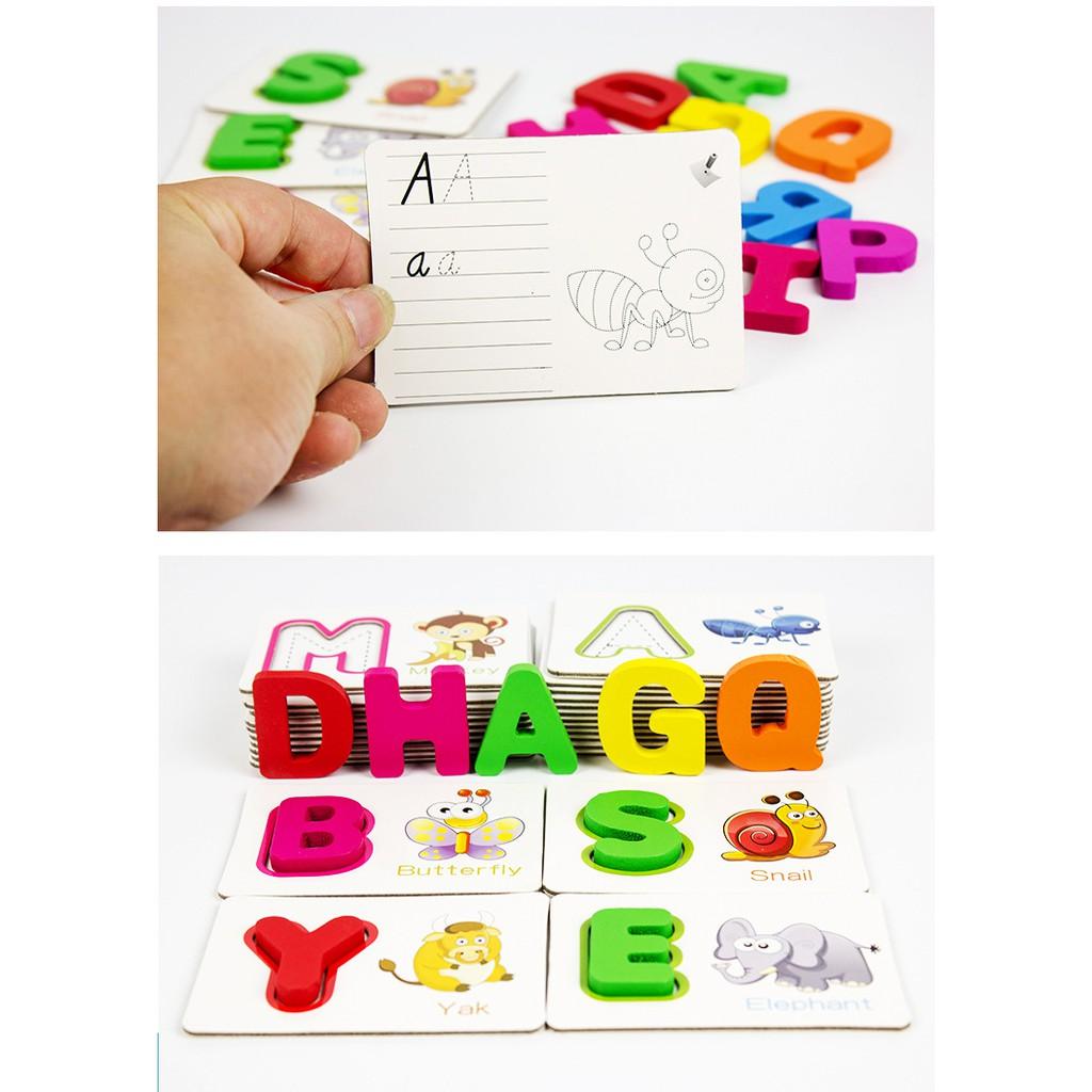 Bộ thẻ gỗ giúp bé học tiếng anh_Đồ chơi gỗ