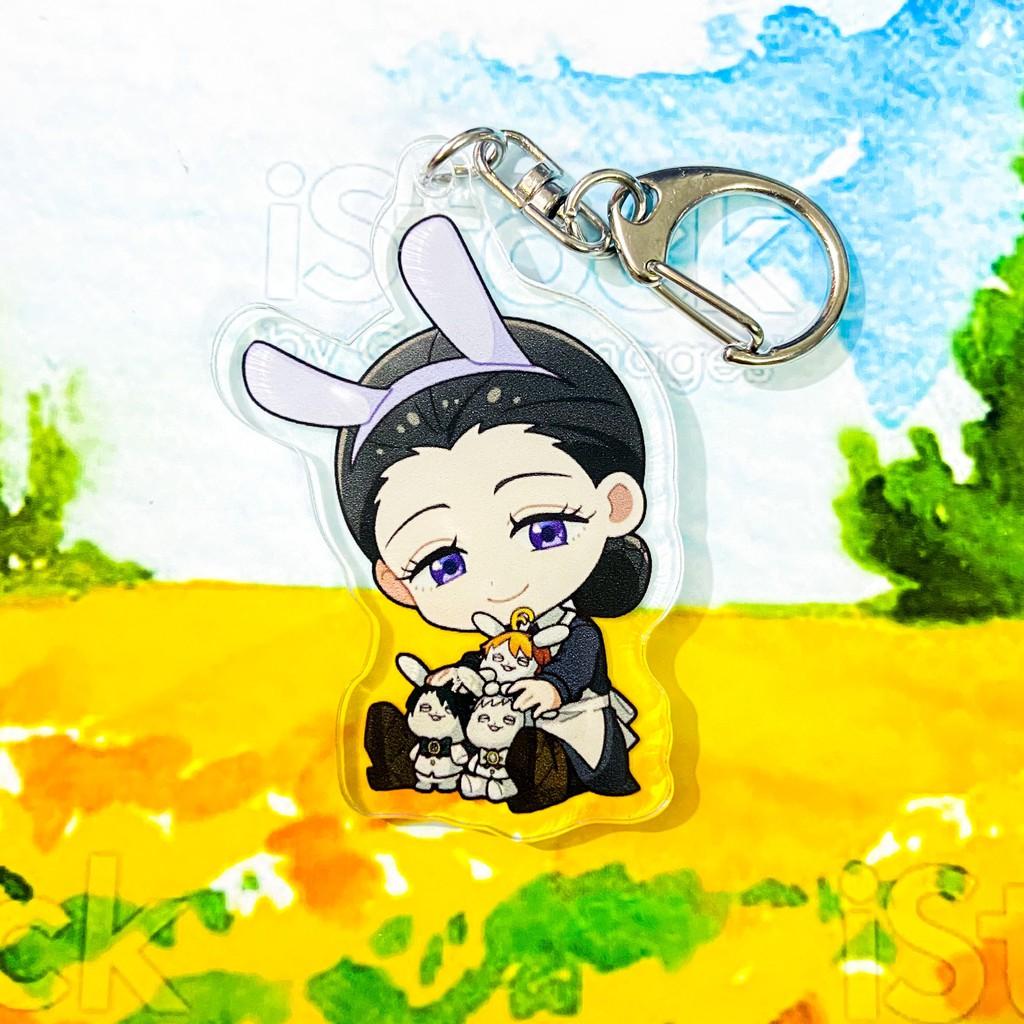 ( Mica trong acrylic ) Móc khóa in hình MIỀN ĐẤT HỨA ver TAI THỎ ThePromised Neverland anime chibi xinh xắn