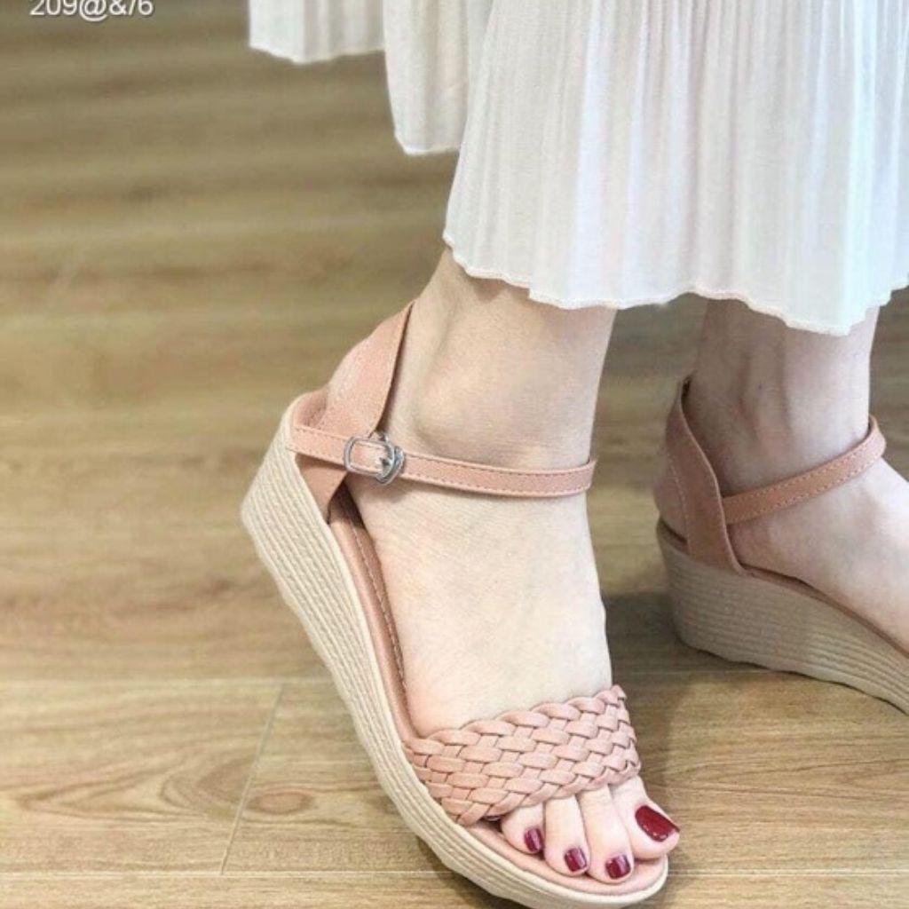 [ Free Ship - Hàng Cao Cấp ] Giày Sandal Nữ Đế Xuồng Quai Ngang Da Đan Dây Xinh Xắn Gót 7cm