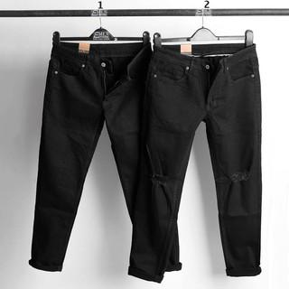Quần jean nam đen trơn, quần jean nam rách gối dáng skinny Routine Ankhang Shop