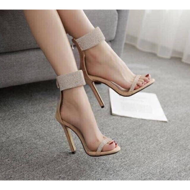 Giày gót nhọn quai đính đá  - Từ 7-10cm - Giày cao gót nữ - Giày nữ sang trọng Từ 7-10cm