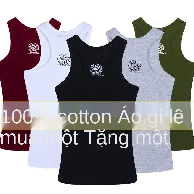 Áo vest nam mùa hè cotton mặc bên trong cản trở co giãn bó sát kiểu dáng mỏng vừa vặn có đáy in hình chữ I th