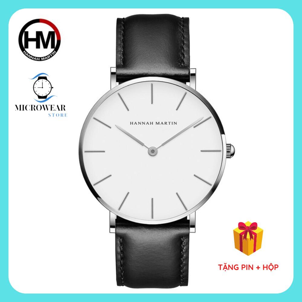 Đồng hồ nam HANNAH MARTIN siêu mỏng hàng chính hãng máy Nhật cao cấp dây da sang trọng nhiều màu