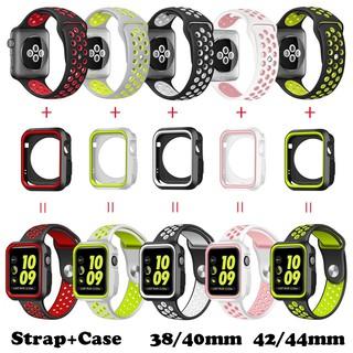 Dây đeo + vỏ silicon mềm mại 38(40)mm 42(44)mm dành cho iWatch Series SE 6/5/4/3/2/1