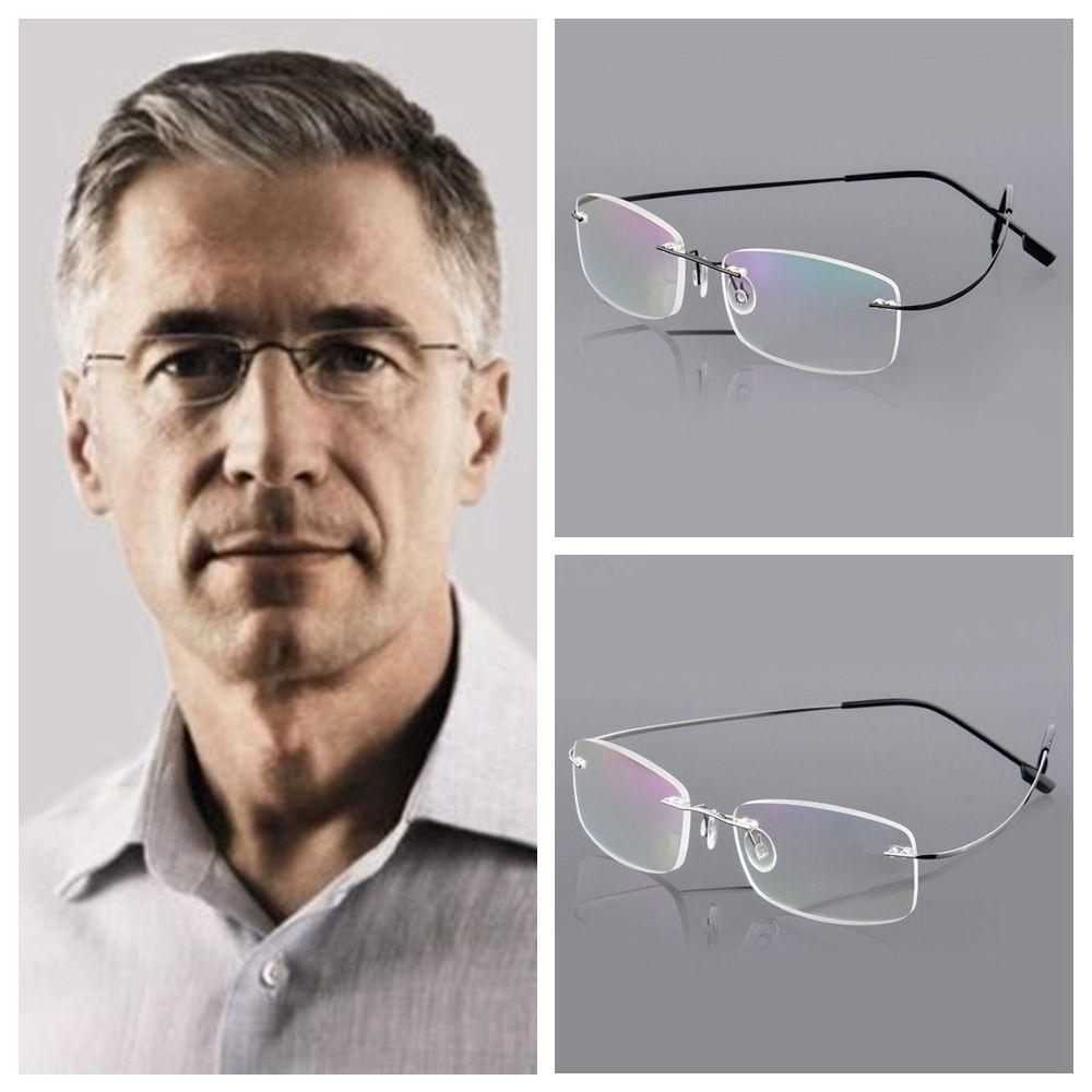 MOILY Degree Reading Glasses Unisex Rimless Eyeglass Health Care Rectangular Ultralight Elder Spectacles Memory Titanium/Multicolor