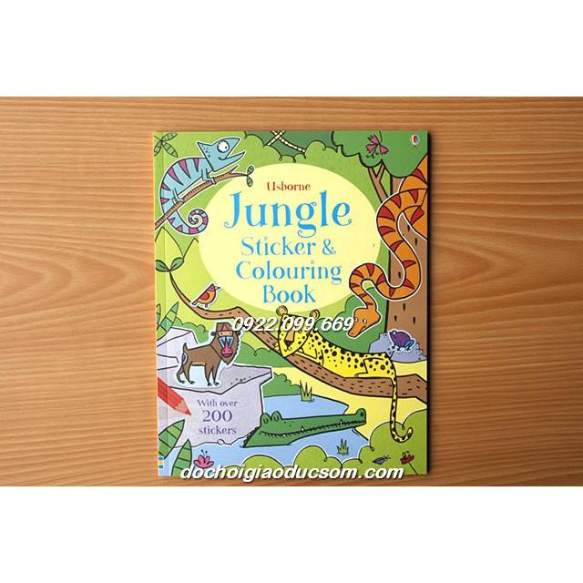 Usborne Jungle sticker an coloring book - Sách tiếng anh trẻ em
