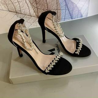 Sandal bít gót 8P quai dây đá - Sandal cao gót 8P Chile