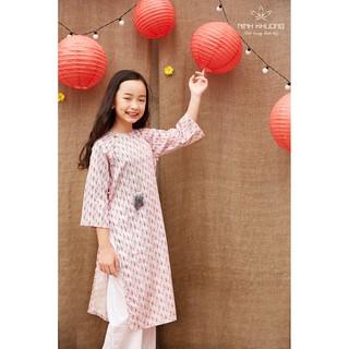 Áo dài bé gái Ninh Khương - Áo dài nút bọc tròn bé gái