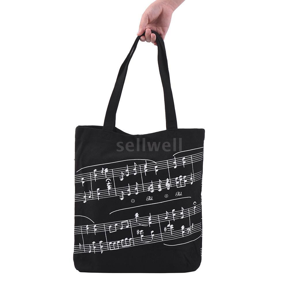 Washable Cotton Cloth Handbag Music Tote Shoulder Grocery Shopping Bag with Magnetic Button Musical Notation Pattern