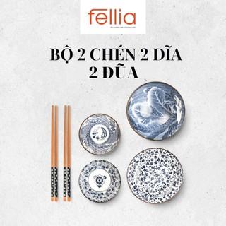 Bộ 2 chén bát, đĩa và đũa sứ cao cấp Fellia phong cách Nhật Bản