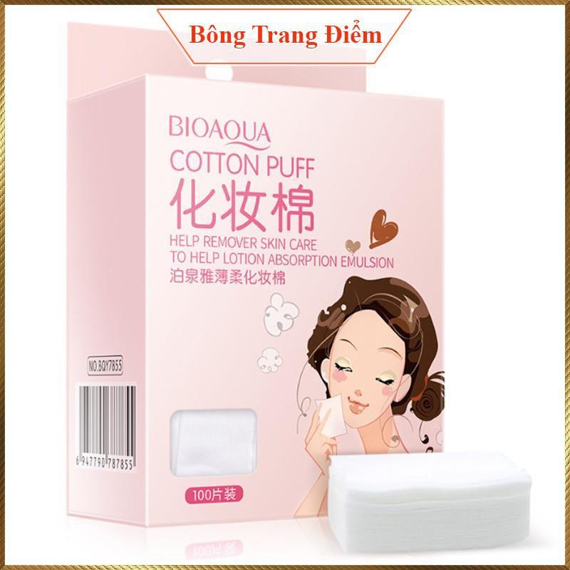 Bông tẩy trang hộp 100 miếng Cotton Puff Bioaqua CP12