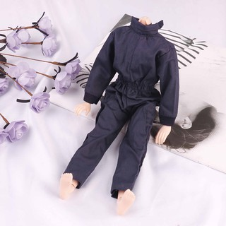 Dark blue handmade boy doll jumpsuits for 1/6 doll party casual wear cloth