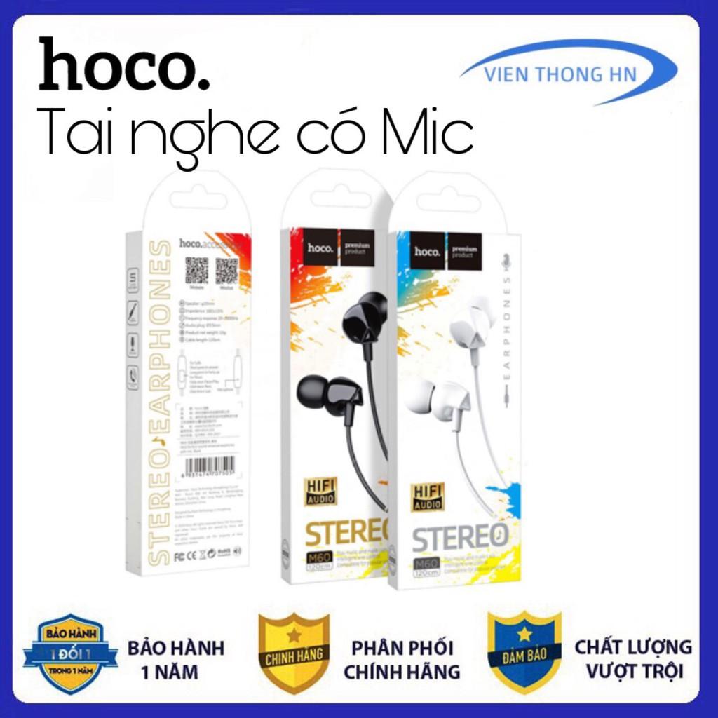 Tai nghe có dây hoco m60 - tai nghe dây nhét tai có mic đàm thoại âm thanh siêu chuẩn hoco m60 - vienthonghn