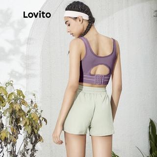 Hình ảnh Áo ngực thể thao/ tập yoga Lovito màu trơn L02034 (Black/Nude)-5