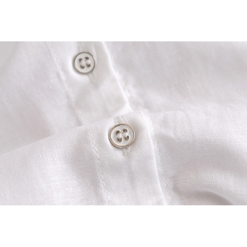 Fashion new spot quality awesome spring basic small stand collar simple white shirt European and American wind cotton l