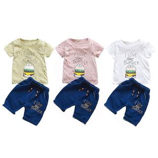 2 quần và áo thun tay ngắn in chữ cho trẻ sơ sinh