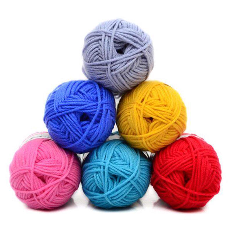 Cuộn len cotton sữa 4 sợi đan quần áo nhiều màu tuỳ chọn