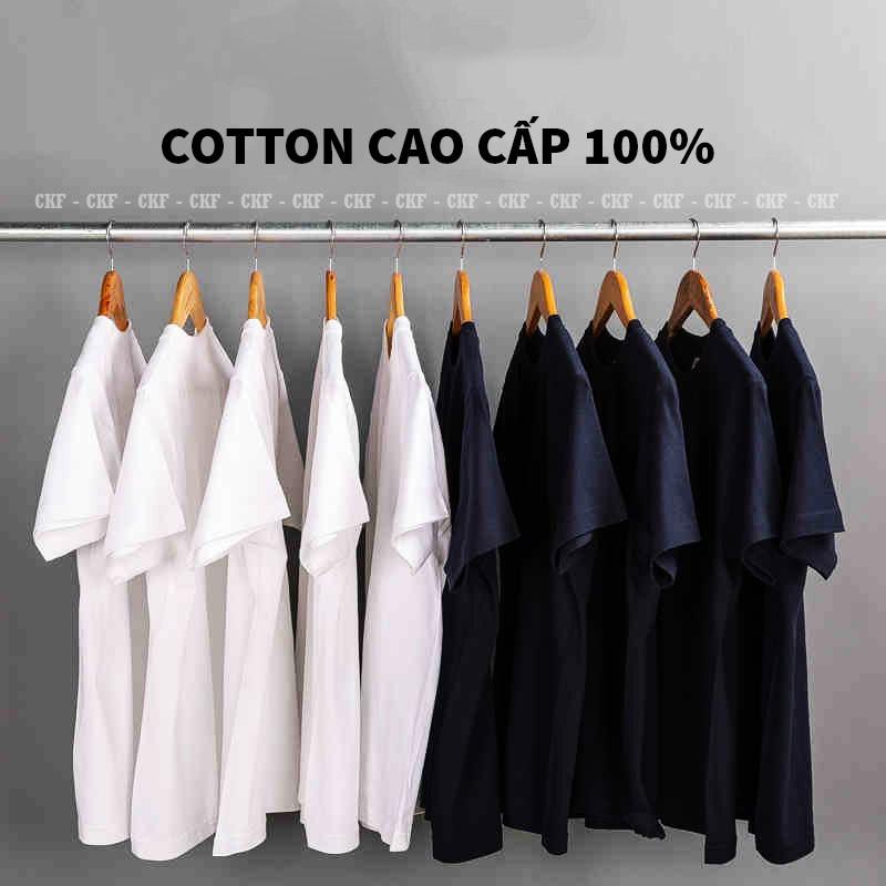 [ 100% Cotton ] Áo Thun Trơn 100% Cotton 4 Chiều Mát Lạnh Vải Dày Dặn Nam Nữ Đều Mặc Được