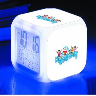 Đồng hồ báo thức để bàn in hình Doraemon Chú mèo máy đến từ tương lai anime chibi LED đổi màu