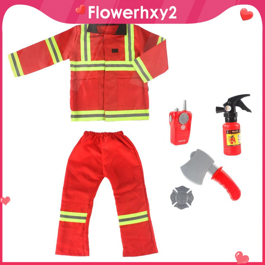 Kids Firefighter Cosplay Fireman Role Play Girls for Boys Girls Washable