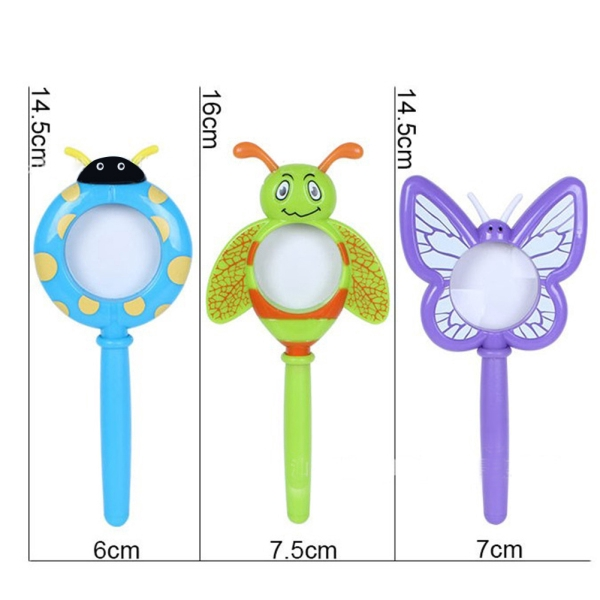 Magnifier Random Color Gift for Pupil Kids Cartoon Plastic Handheld Insect Magnifier Toy