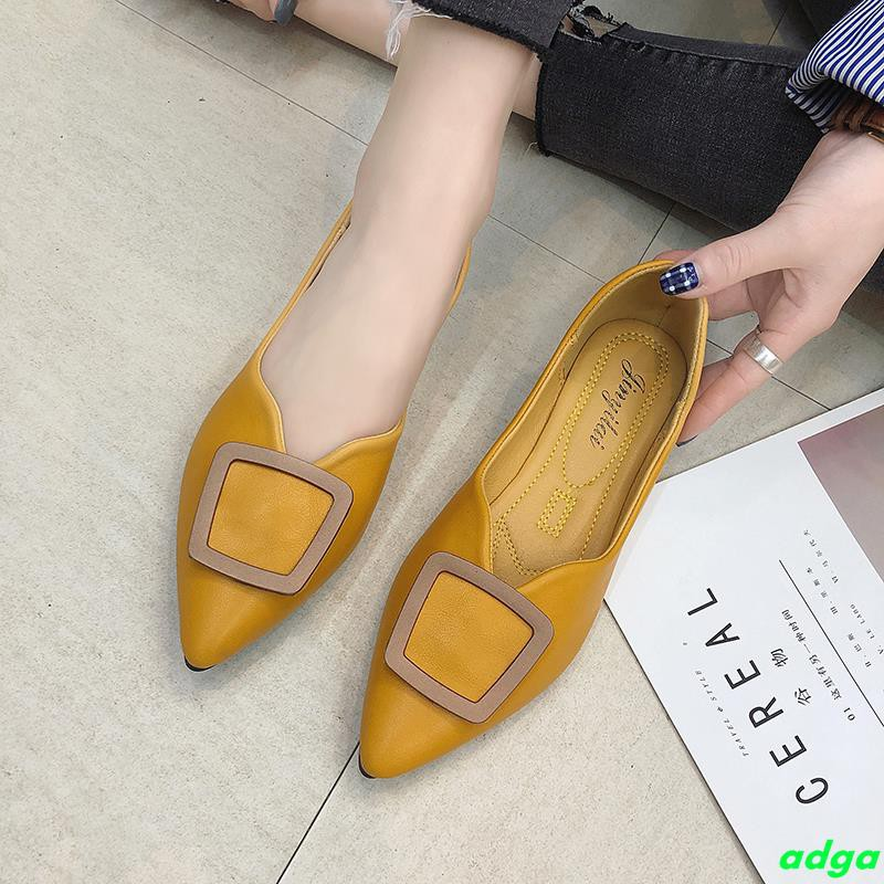 Single shoes female 2019 spring metal buckle shallow mouth pointed new flat with flat shoes gentle scoop shoes female gr