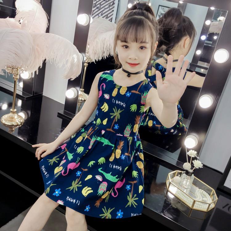 Cute patterned sleeveless dress for girls