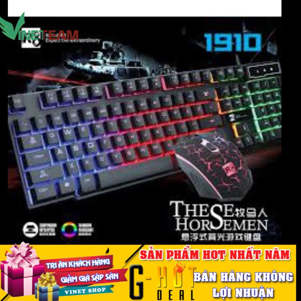 Yêu Thích🎁Freeship🎁 Combo Bàn phím giả cơ và Chuột chuyên game R8 1910 Led 7 màu có dây -dc2348