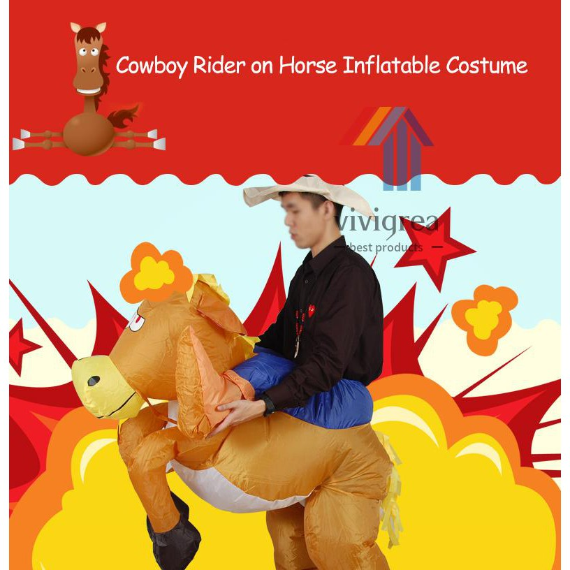 Vi&Vi Decdeal Funny Cowboy Rider on Horse Inflatable Costume Outfit for Adult Fancy Dress Halloween Carnival Party Blow Up Inflatable...