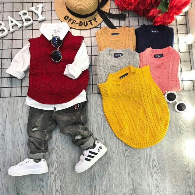 Áo gile len thừng Xuất sịn phong cách Hàn Quốc cho bé trai bé gái