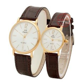 Đồng hồ cặp nam nữ QB dây da cao cấp dành tặng cặp tình nhân thumbnail