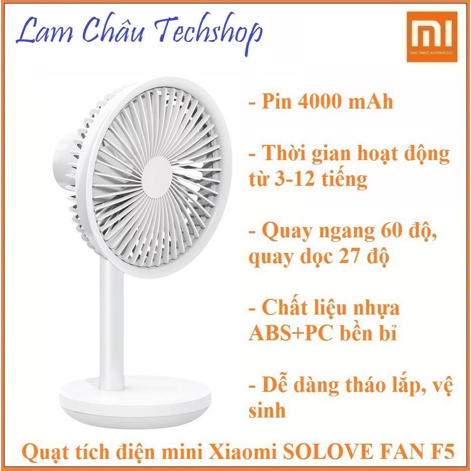 Quạt Xiaomi SOLOVE FAN F5 (mini, cao cấp, giá rẻ, đa dụng: di động, cầm tay, để bàn, tích điện)