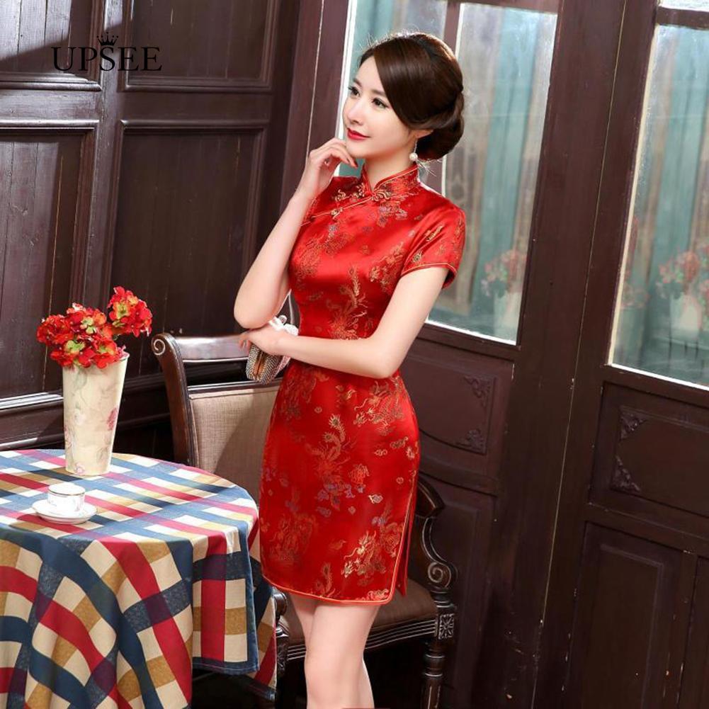 FREESHIP ĐƠN 99K_ Sườn Xám Cách Tân Họa Tiết Rồng Phượng Hoàng Phong Cách Trung Hoa