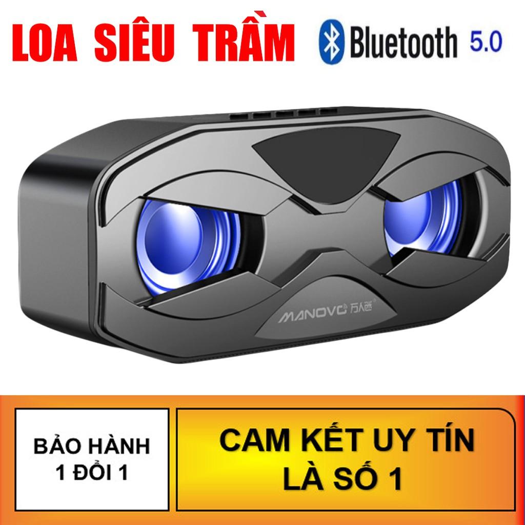 Loa Bluetooth MaNoVo M4 - Loa kép bass cực mạnh, Tặng dây jack 3.5mm, Loa siêu trầm