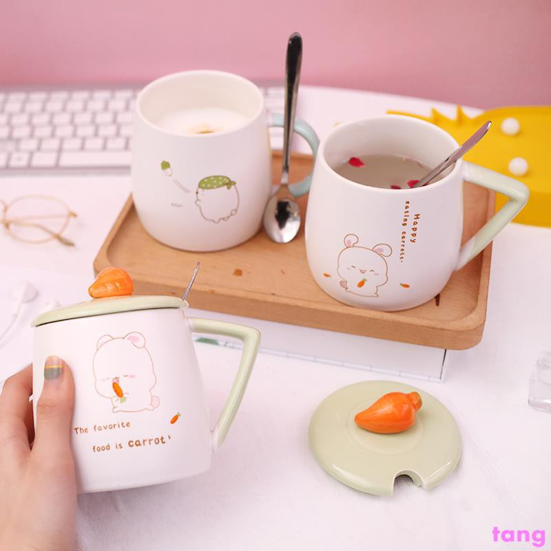 Cute ceramic cup female with lid spoon mug creative personality trend cup home m