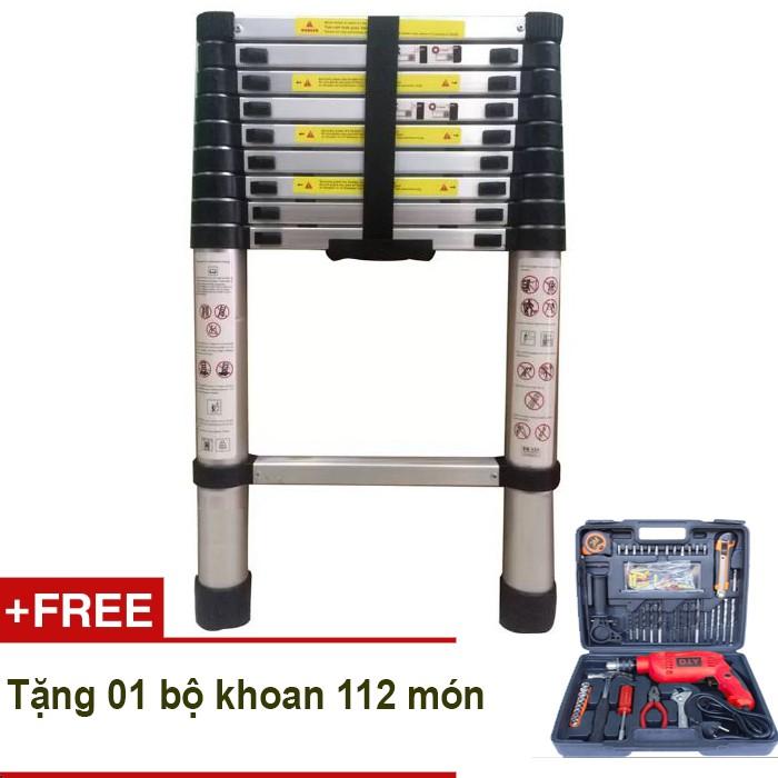 Thang nhôm rút Kachi 2.9m + Tặng bộ khoan DIY