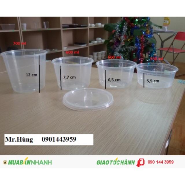 10 Hộp nhựa tròn một lần tiện lợi(10 cái/lốc) kèm nắp