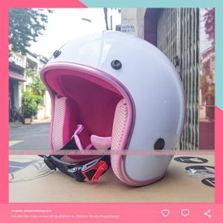 Mũ nón bảo hiểm 3/4 trắng lót hồng giá rẻ - Mũ bảo hiểm 3/4 màu trắng lót hồng đi phượt siêu dễ thương