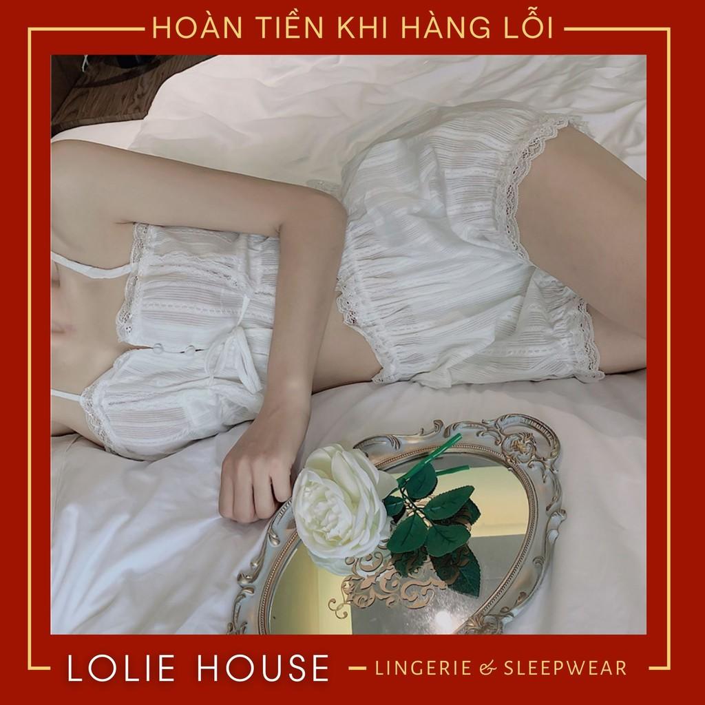 Mặc gì đẹp: Ngủ ngon hơn với Đồ ngủ sexy nữ 2 dây Bộ ngủ hai dây Set ngủ vải đũi mỏng màu trắng gợi cảm LOLIE HOUSE - SS1