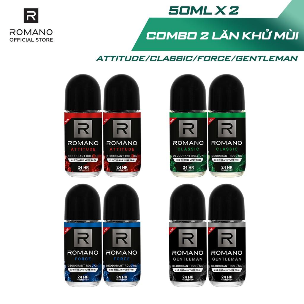 Combo 2 Lăn khử mùi Romano kháng khuẩn & khô thoáng cả ngày 50ml/chai