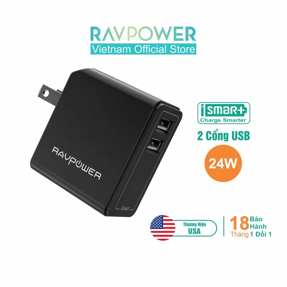 Adapter Sạc RAVPower 24W iSmart Thiết Kế An Toàn Khi Sạc, RP-