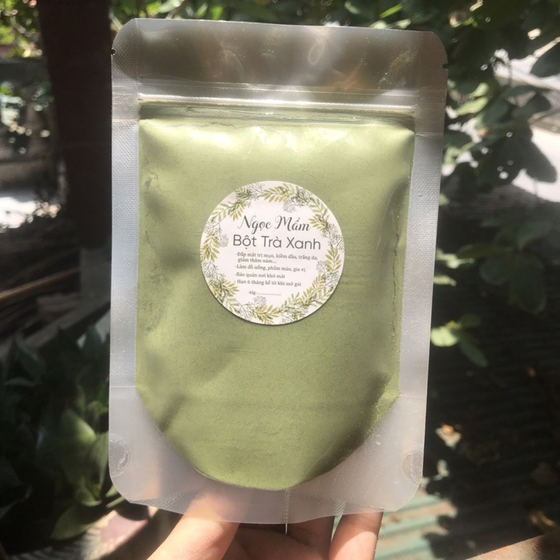 Bột trà xanh nguyên chất nhà làm túi zip 100g