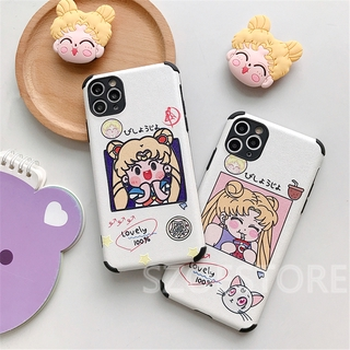 Cartoon Cute Sailor Moon Skin-Friendly Silk Pattern Holder Soft Phone Case Cover for iPhone 11 Pro Max X XS XR XSMax 8 7 6 6s Plus SE 2020