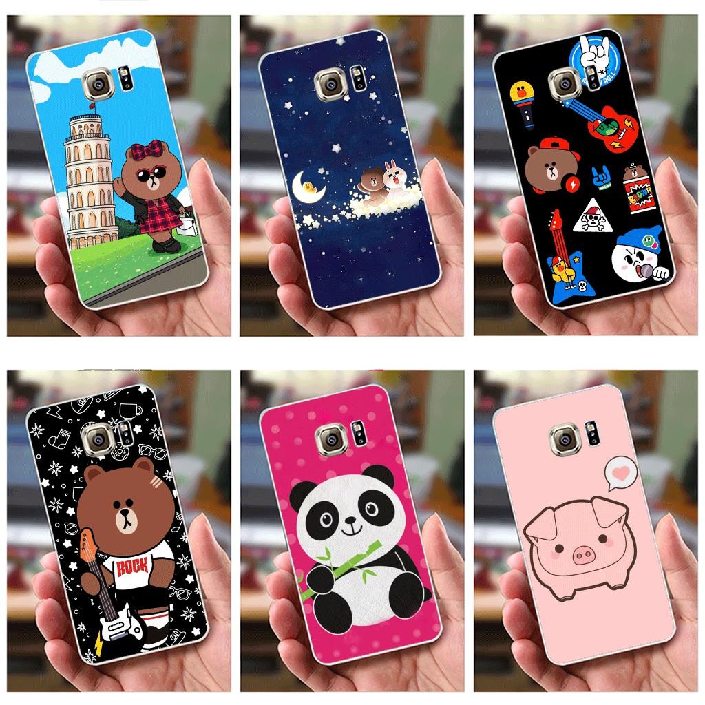 Ốp lưng Samsung S7 Edge (dẻo viền trắng trong) - Hình Gấu Brown, Gấu Trúc , Heo Con