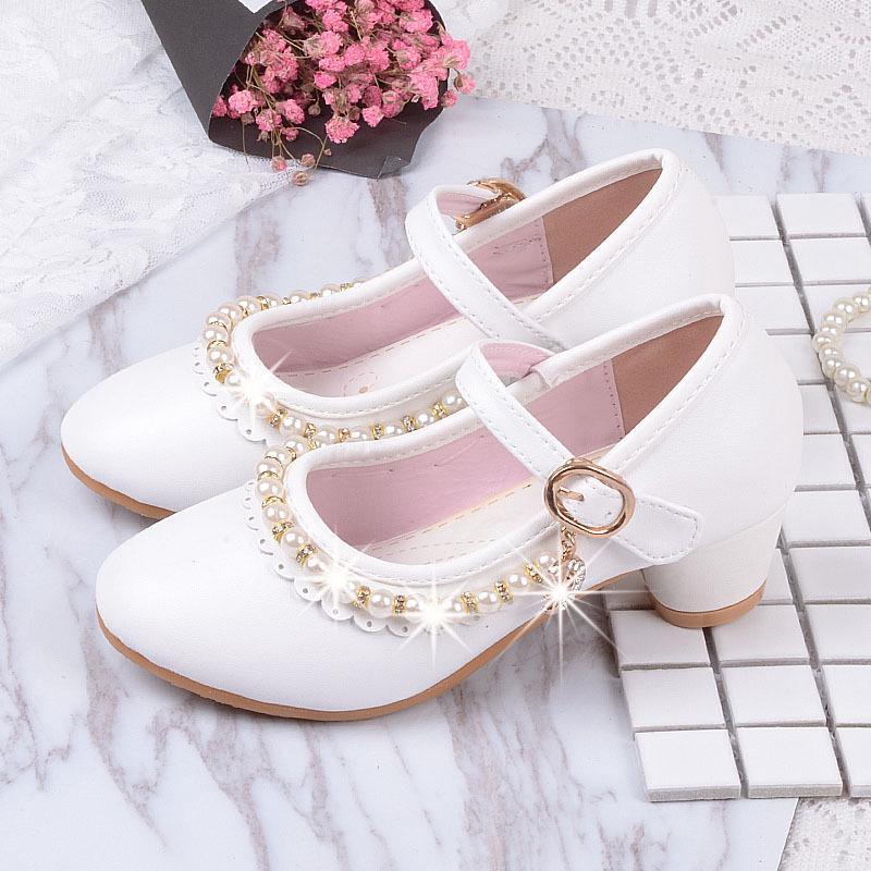 Giày búp bê cao gót đính ngọc trai đáng yêu điệu đà cho bé gái