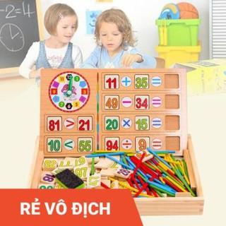 Đồ chơi đồng hồ bảng tính toán học đa năng cho bé, bộ xếp hình toán học 2 mặt đa năng phát triển trí thông minh cho trẻ